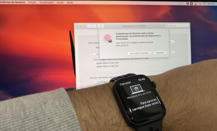 Imagem macOS Catalina função de desbloqueio via Apple Watch