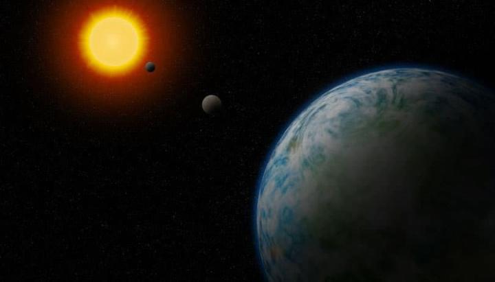 Ilustração de superterras à volta de das suas estrelas com condições para albergar vida extraterrestre