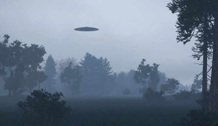 Ilustração de extraterrestres a chegar de OVNI