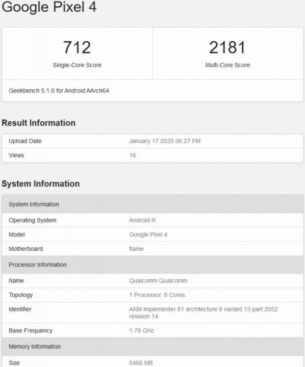 Android R Pixel 4 Google testes desempenho