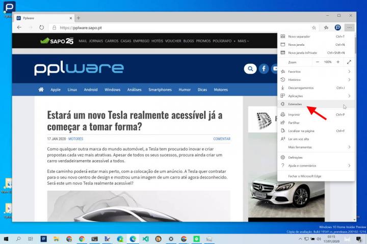 Edge extensões browser Microsoft Chrome