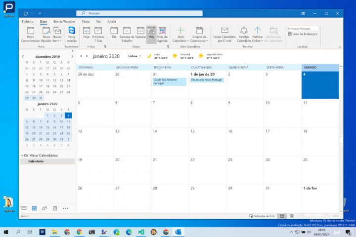 Outlook calendário feriados Portugal adicionar