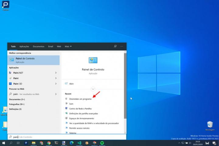 Chamar o Painel de controlo do Windows 10