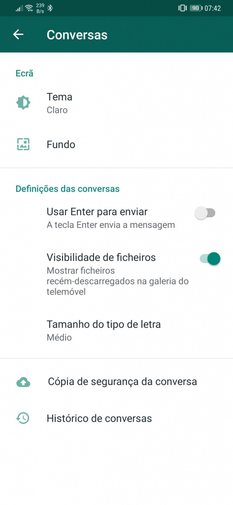Imagem Dark Mode do WhatsApp para Android