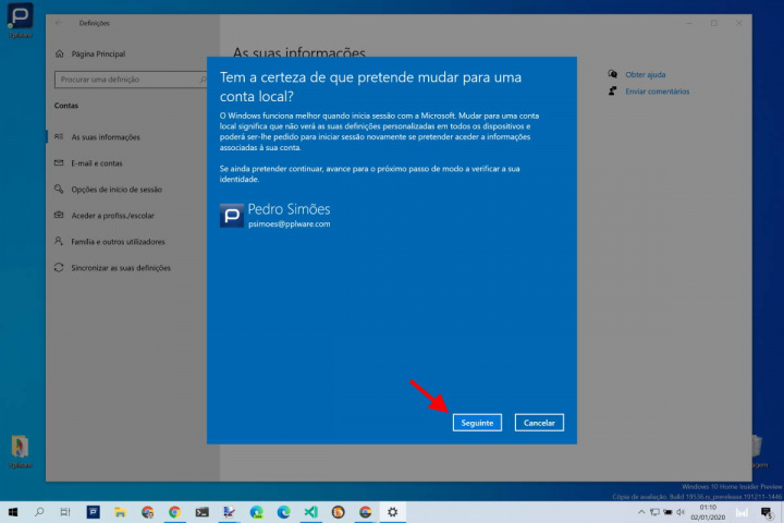 Windows 10 conta local utilizadores Microsoft