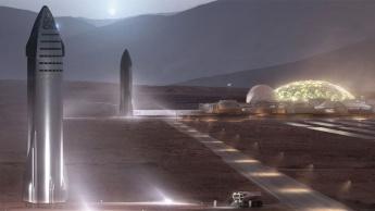 Imagem nave espacial da SpaceX para levar as pessoas a Marte