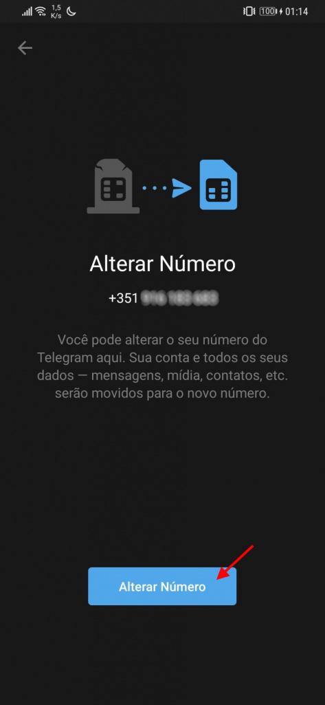 Telegram número telefone mudar dados