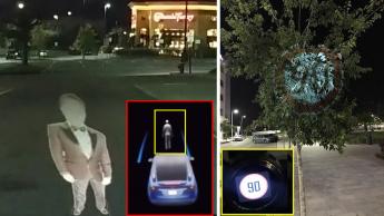 Imagem do sistema fantásma usado para enganar o Tesla Model X e o seu piloto automático