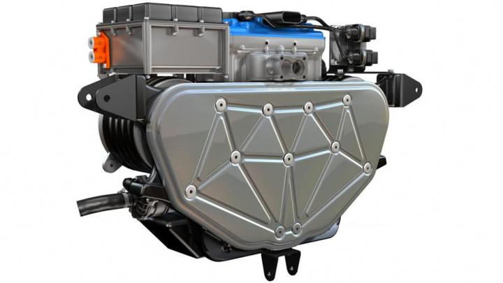 Imagem do motor a gasolina adicionado ao Tesla Model 3