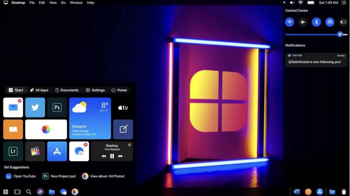 Imagem dark mode à moda da Apple para o sistema operativo da Microsoft