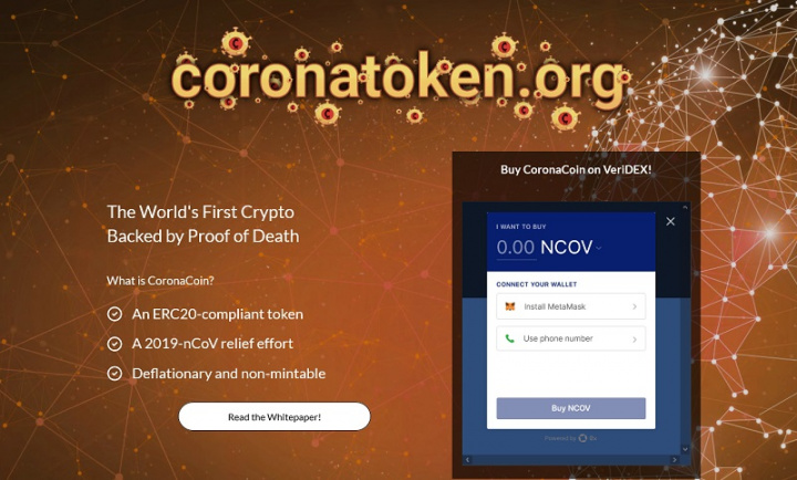Site oficial da CoronaCoin