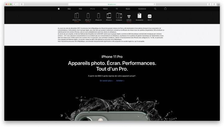 Imagem site de França da Apple com mensagem sobre multa