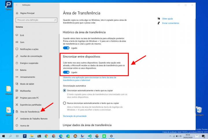 Área de Transferência Windows 10 sincronização desligar Microsoft