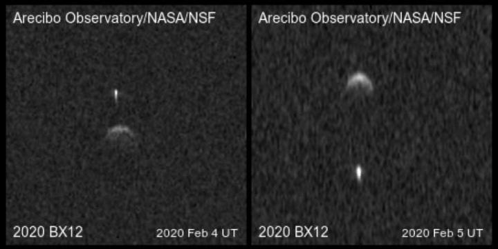 Imagem descoberta pelos astrónomos que mostram asteroide captado pela NASA com a sua lua