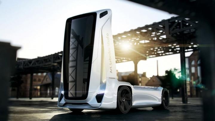 Imagem de conceito de camião elétrico autónomo vindo da Rússia