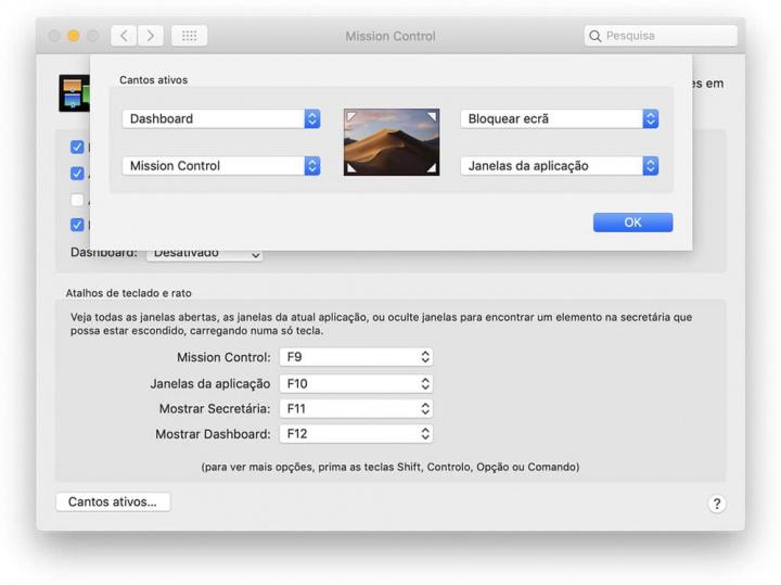 Imagem dos cantos ativos macOS que poderão aparecer no Chrome da Google