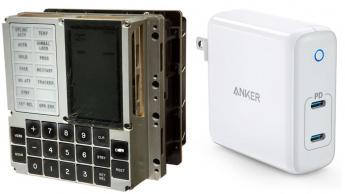 Imagem computador Apollo 11 versus carregador moderno USB-C