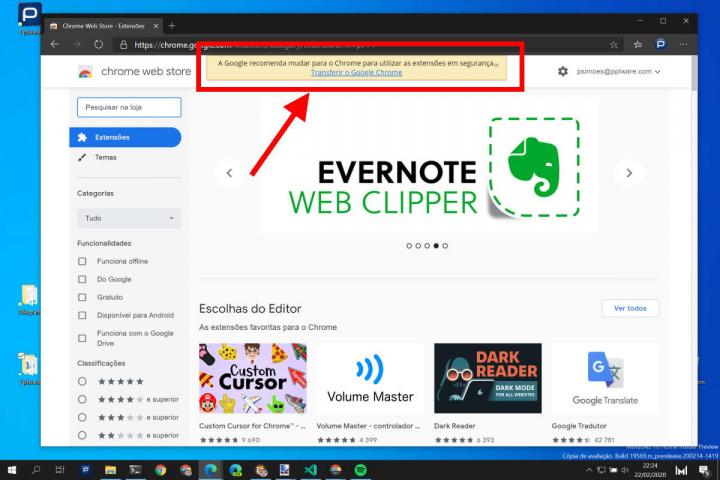 Edge Microsoft Chrome Google extensões
