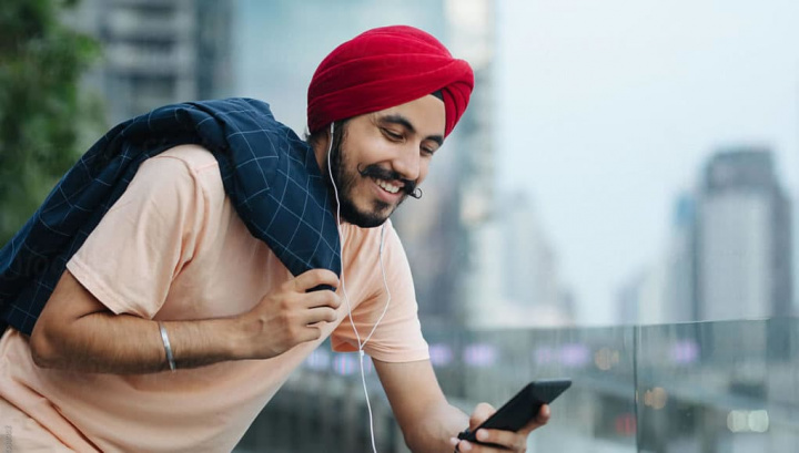 Imagem utilizador do serviço de streaming de música Gaana da Índia