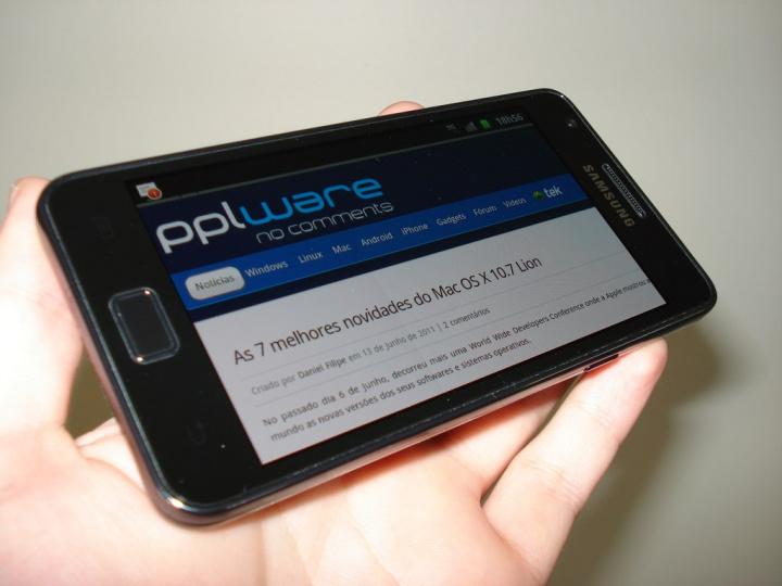 Samsung Galaxy SII - ecrã na horizontal