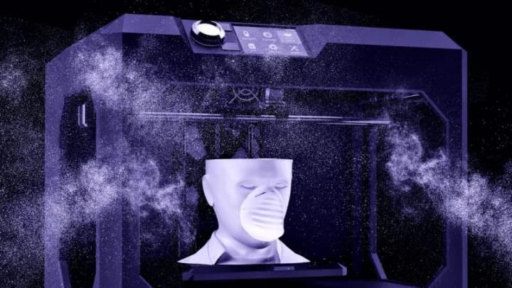 Imagem impressora 3d a fazer impressão 3d de máscara contra coronavírus