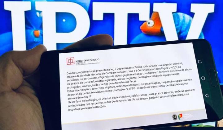 Imagem informação de ilegalidade no uso de listas de IPTV piratas