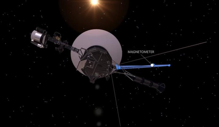 Imagem da sonda Voyager da NASA que tem uma antena de receção de ondas rádio