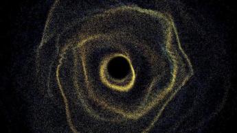 Imagem de nuvens de gás a orbitar um buraco negro