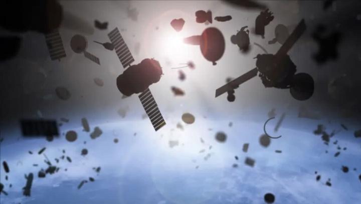 Imagem de ilustração do lixo no espaço na órbita ta terra. Satélites e detritos a vaguear