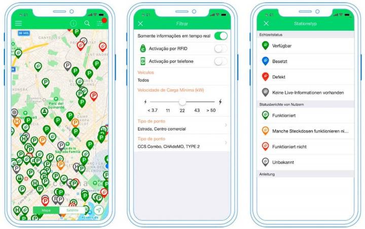 Imagem app com pontos de carga para carros elétricos