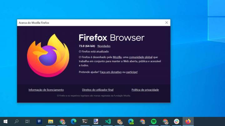 Firefox Mozilla browser 73 utilizadores
