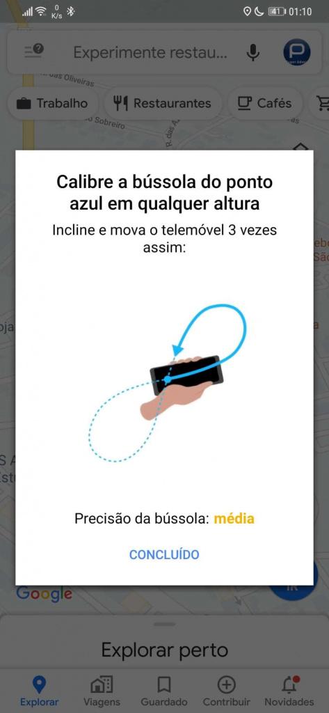 bússola calibrar Google Maps Android smartphone
