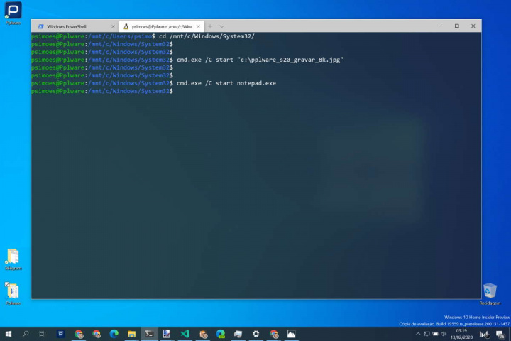 Linux Windows 10 ficheiros apps WSL