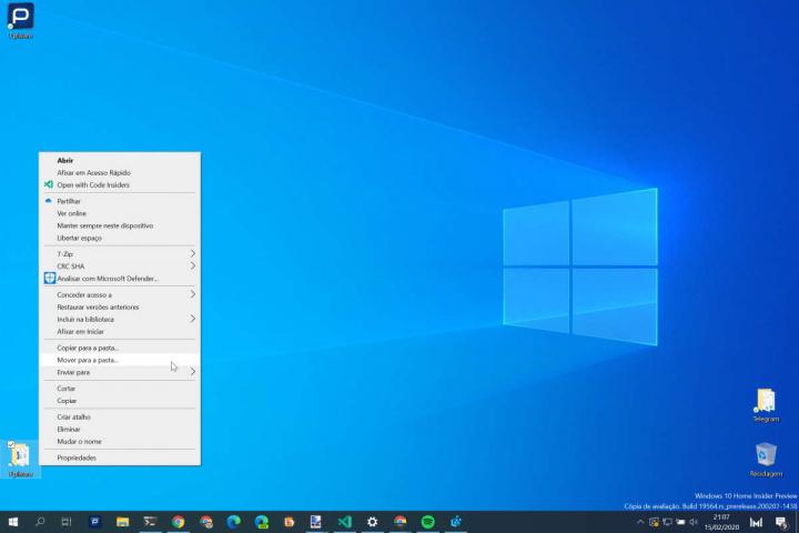 Windows 10 menu de contexto Mover para Copiar para simples