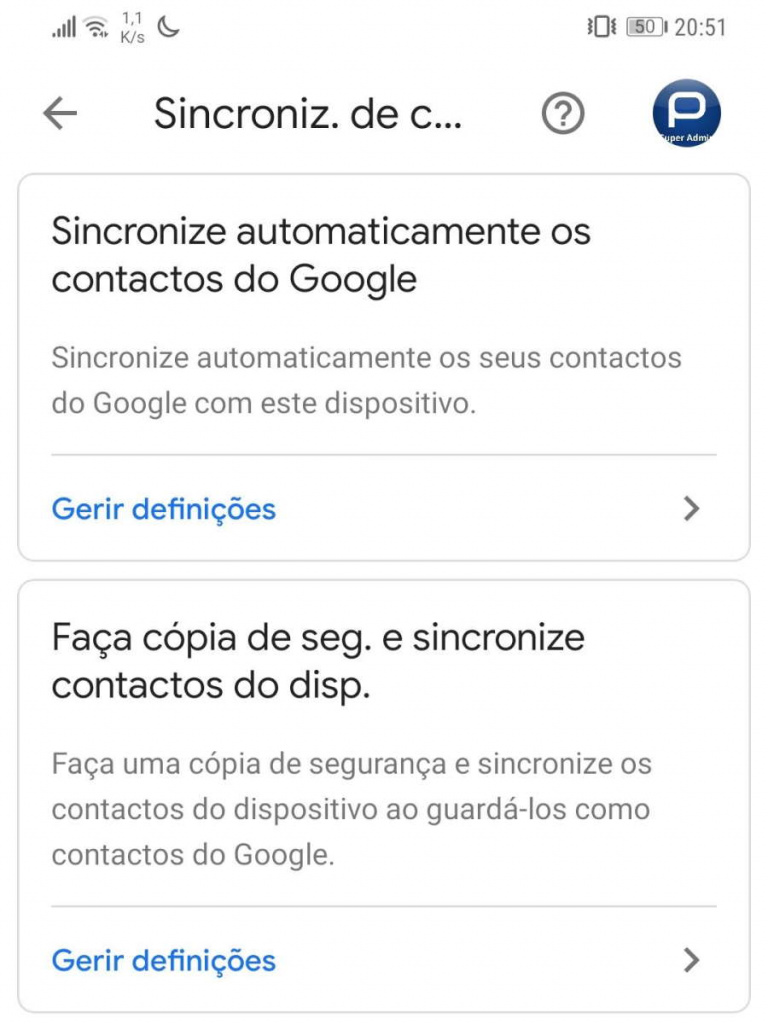 Contactos Android sincronizar Google utilizadores