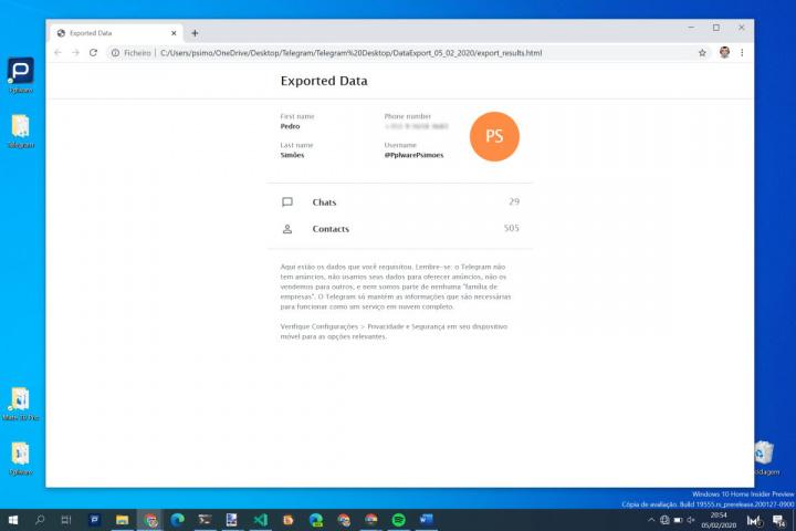 Telegram cópia segurança dados serviço