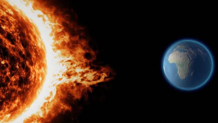 Ilustração de uma tempestade solar a ameaçar a terra