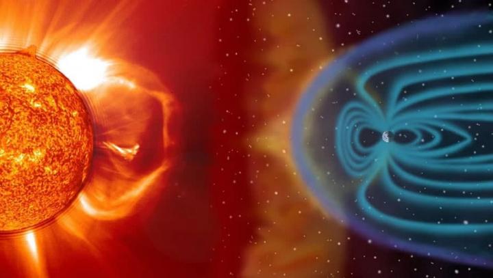 Imagem de uma temnpºestade solar e do escudo da Terra