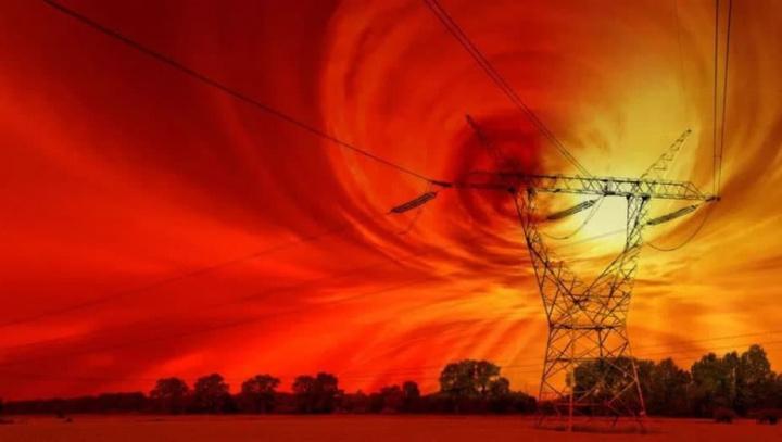 Ilustração de problemas na rede elétrica por causa das ondas solares