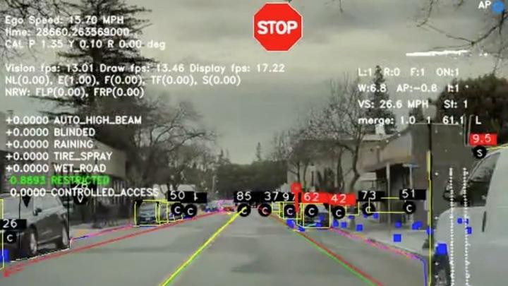Imagem da visão de um Tesla na estrada que quer ter condução autónoma