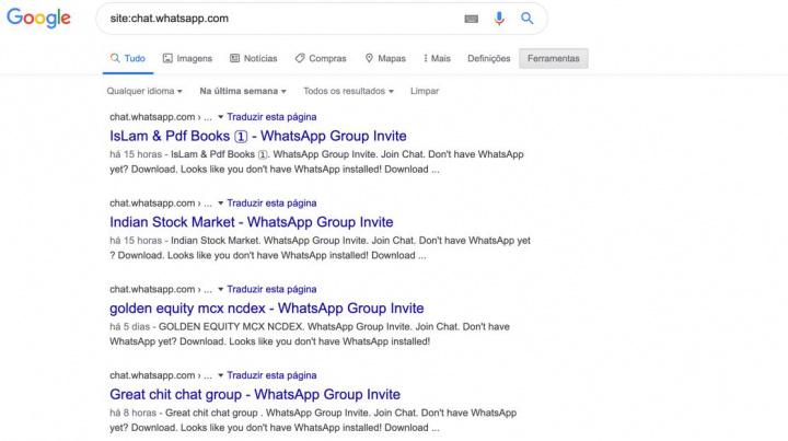 Atenção: Grupos privados do WhatsApp aparecem nas pesquisas do Google