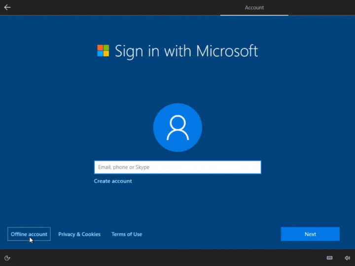 Windows 10 conta Microsoft Internet local