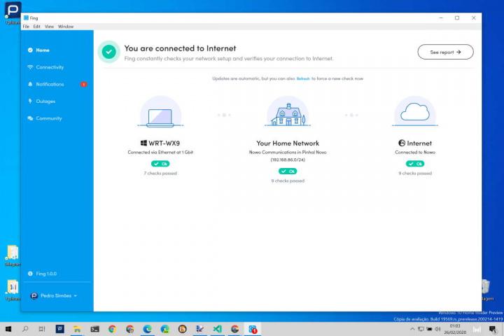 Windows 10 rede descobrir Fing app