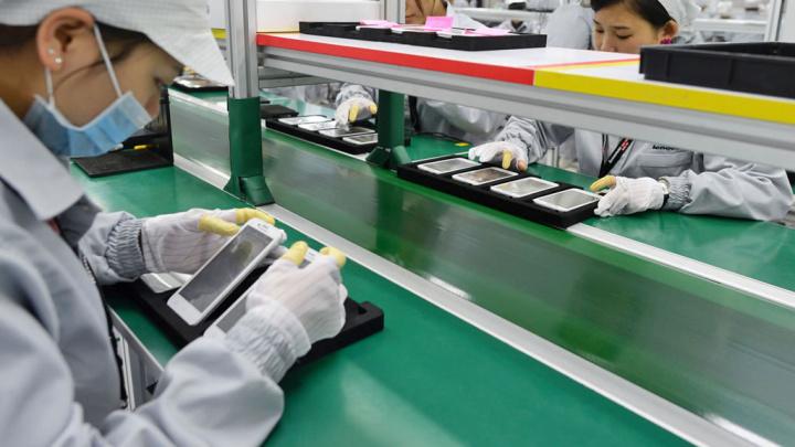 Imagem produção de smartphones samsung na Coreia do Sul