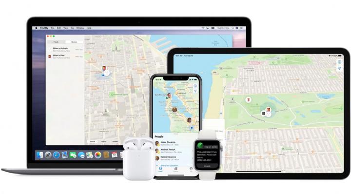 Imagem sistema encontrar da Apple nos vários dispositivos