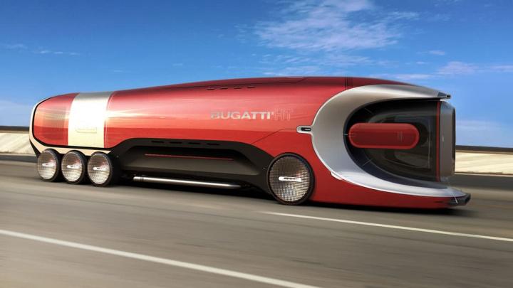 Imagem de conceito do Bugatti Hyper Truck, o camião elétrico