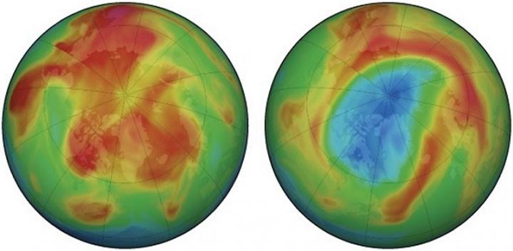Imagem buraco do ozono no polo norte