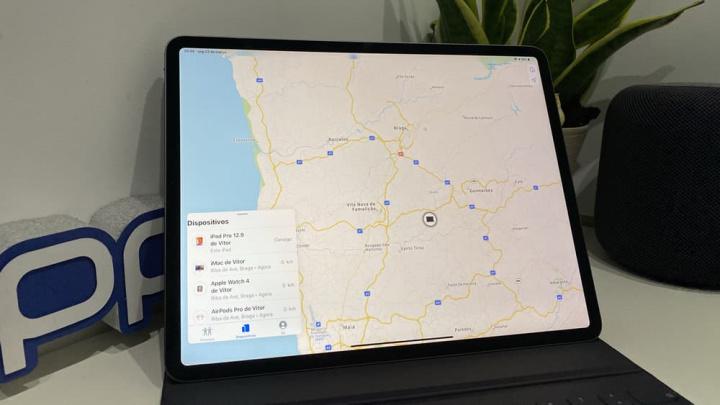 Imagem Apple iPad Pro com iOS 14 com Realidade Aumentada na app Encontrar