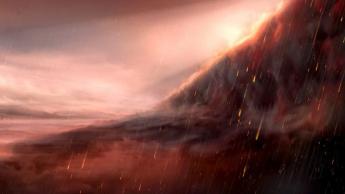 Imagem ilustração planeta onde chove ferro