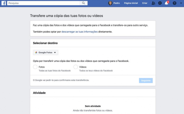 Como transferir fotos do Facebook para o Google Fotos